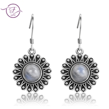 Round Natural Moonstone 7MM Pretty Flower 925 Sterling Sliver Drop Earrings Womens Anniversary Party Jewelry