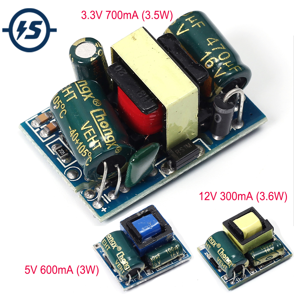 For Arduino Power Supply Module AC-DC 3.3V 5V 12V 600mA 3W Isolated Switching 220V To 3.3V 5V 12V Buck Step Down Module Voltage