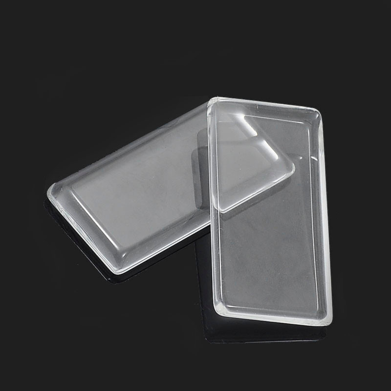 10Pcs 24*48mm Clear Rectangle plane magnifying glass cabs inserts pendant Tray For glass cabochon DIY Jewelry