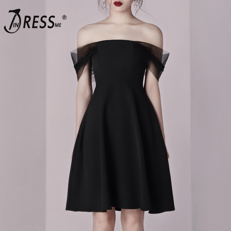 INDRESSME 2019 New Fashion Style Black Off the Shoulder Mesh Women Celebrity Party A Line Sexy