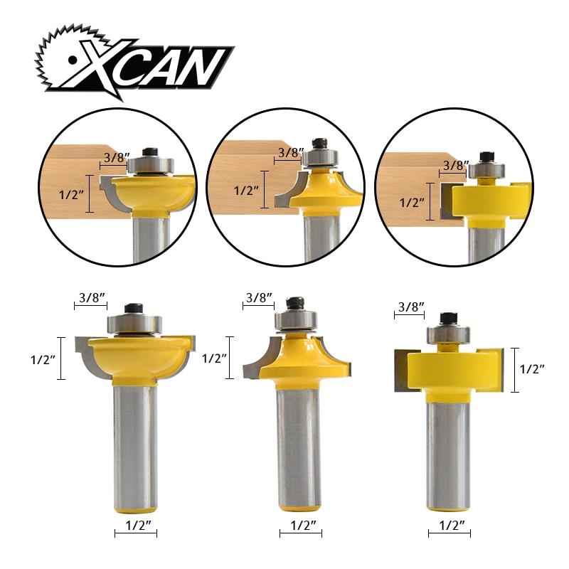 XCAN! 3pcs 1/2 shank Glass Door Router Bits Set woodworking cutter Woodruff Keyseat Milling Cutters xcan 10pcs 3 175mm cnc router tool 30