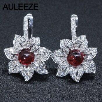da2658ac96c0 14 K oro blanco pendientes para las mujeres corte redondo granate Natural  joyas de piedras preciosas