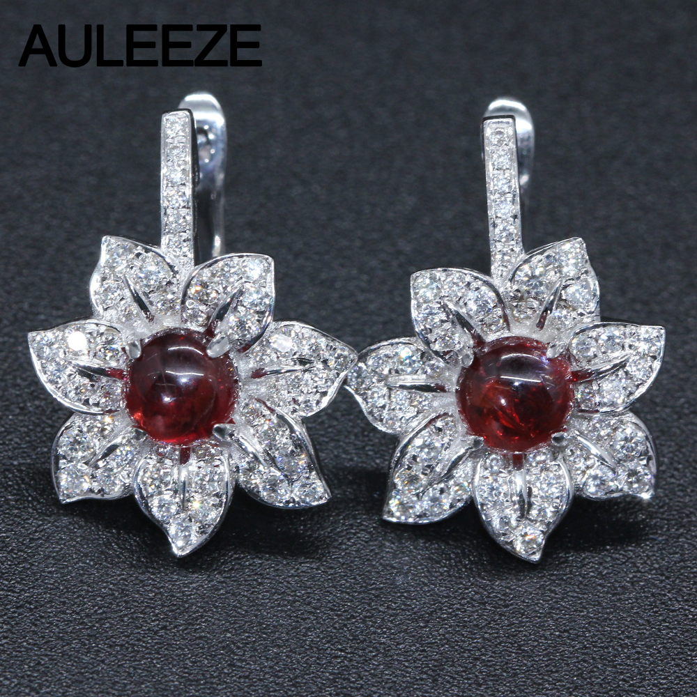 14k White Gold Drop Earrings For Women Round Cut Natural Garnet Natural  Real Diamond Gemstone Jewelry
