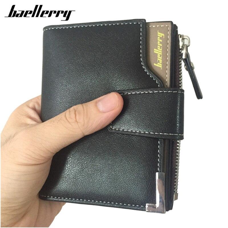 45ca2f6330576 Kurze Männer Brieftaschen PU + Echtes Leder Brieftasche Männer Kupplung  Tasche Geldbörse Karte Halter Zipper Haspe Männlichen Brieftasche in  Baellerry ...