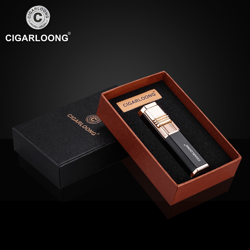 Купить с кэшбэком CIGARLOONG Cigar Lighter double tube portable windproof straight into the inflatable lighter igniter with cigar drill CL-0116