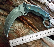 High quality Camping Tactical  Karambit knife  Military Survival Tiger Tooth Knife AUS-8 blade G10 handle Combat Hunting knife