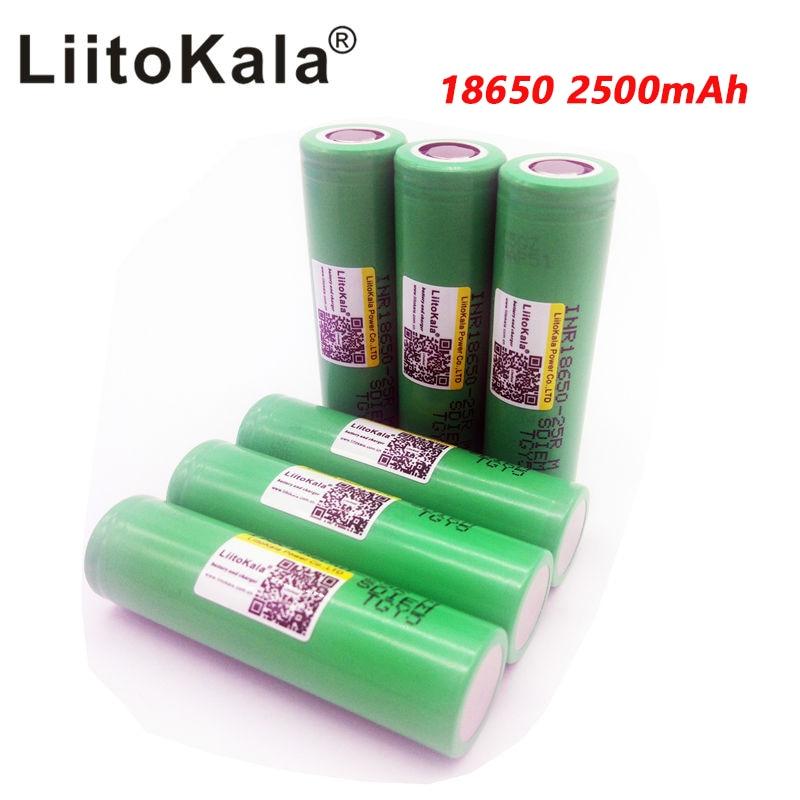 Baterias de Lítio de Descarga Bateria de Energia de 2500 Peças Liitokala Original 25r m Inr1865025r 20a Mah 100 18650