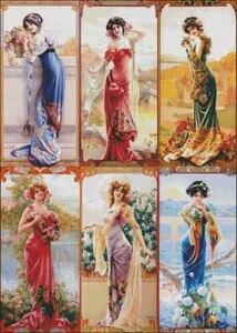 Image 2 - Kit de haute qualité pour broderie, DMC, couture de point de croix, peinture à lhuile 14 ct, à bricolage soi même, Six dames