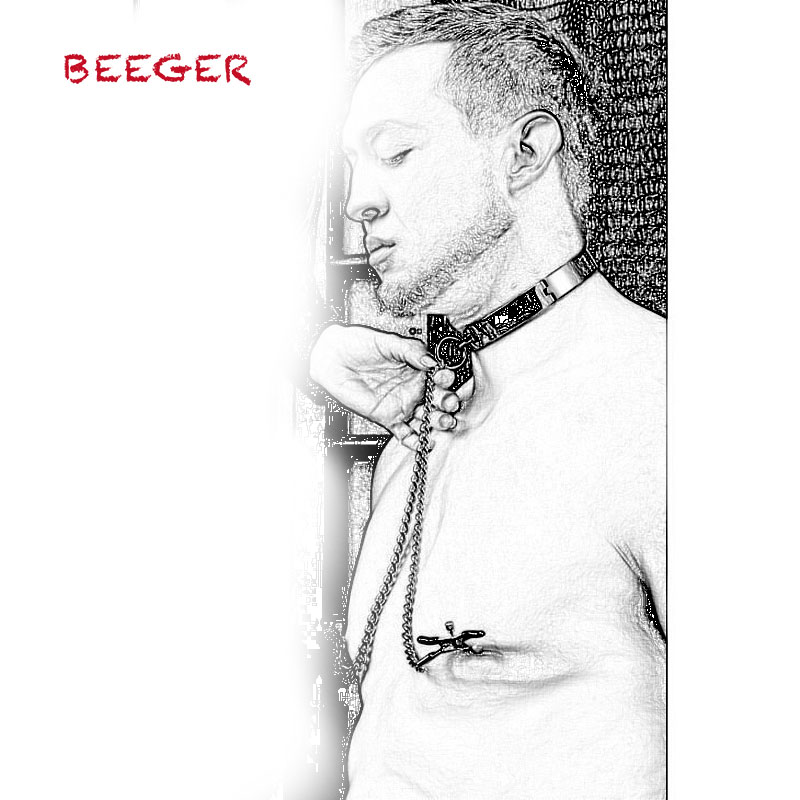 BEEGER <font><b>Slave</b></font> Collar with Nipple Clamps, Stainless Steel Collar with Nipple Clamps Chain Breast Clip image