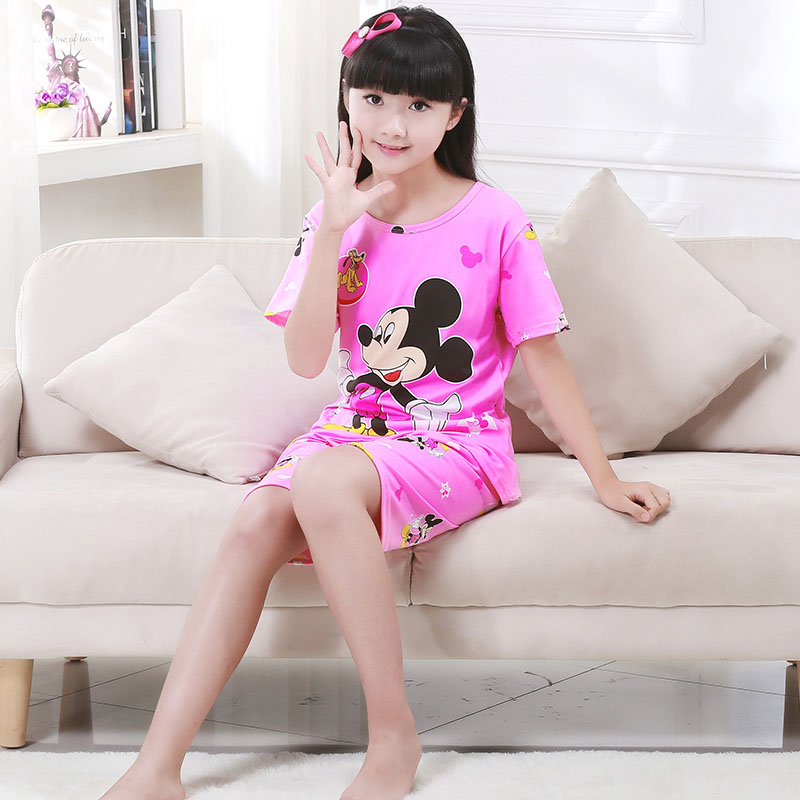 Summer Children Pajamas Short Sleeve Cartoon Kids Catamite Girl Clothes Suit Lovely Children's Pyjamas Boy Sleepwear Home Cloth