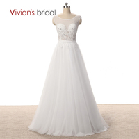 Vivian's Bridal Transparent A Line Wedding Gown Side Slip Appliques Tulle Bridal Wedding Dresses WD4302