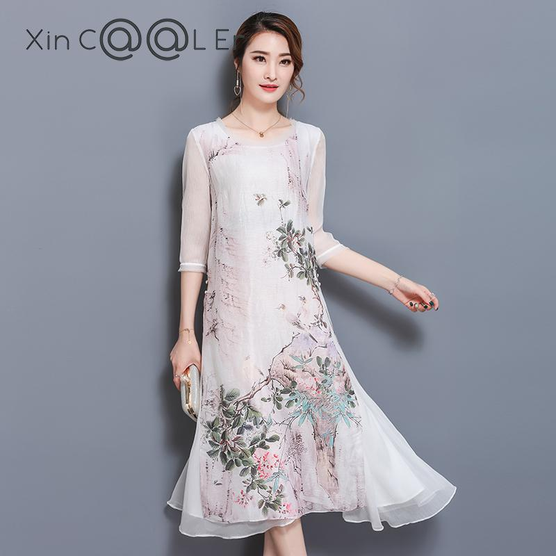 high quality 2018 new Womens Printed Loose Summer Long Dress Spring Chinese Style Silk Retro Dresses Women Clothing Dress