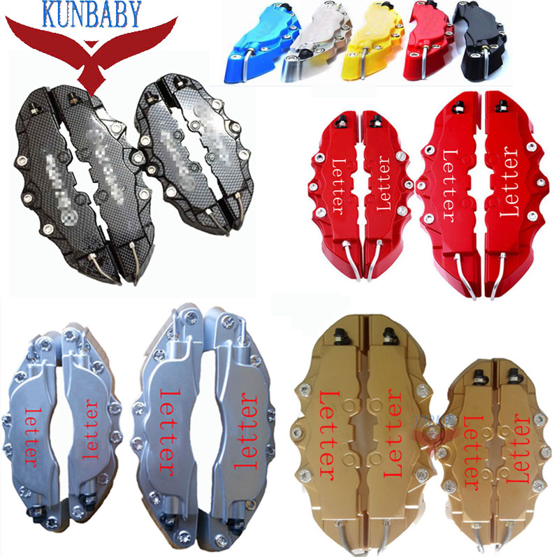 KUNBABY 8 Colors ABS Plastic Car Auto 3D Word Style Disc Brake Caliper Covers Front And Rear Size M+S 4 Pcs 2 pair universal car 3d style disc brake caliper covers front rear