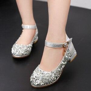 Детская обувь на высоком каблуке для принцессы, обувь для выступлений с украшением в виде кристаллов, серебристая обувь для танцев для мале...