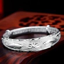 Модные ювелирные изделия серебряный цвет браслеты рыбы лотоса