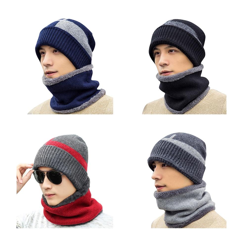 3f7f6d94737 ... 2018 Men Hat Autumn Winter Plus Cashmere Caps Men S Knitted Hat Warm  Cycling Windproof Hat Bib ...
