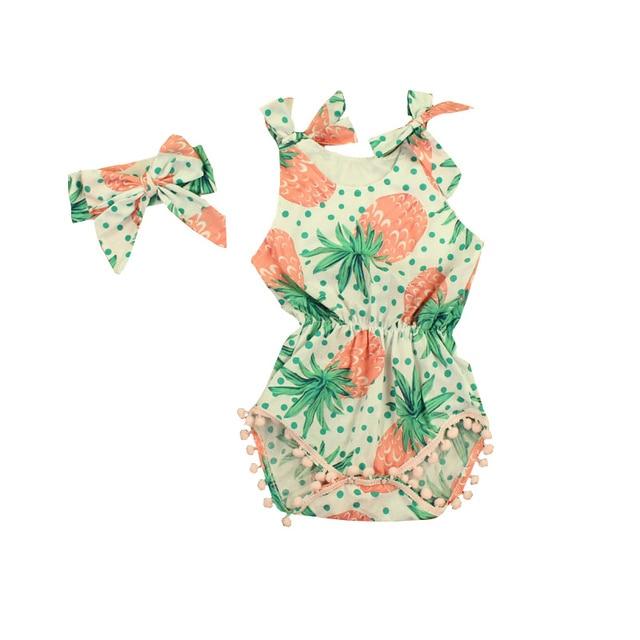 0b324833db80 Pineapple Prints Baby Romper Vintage Baby Girls playsuit Floral ...