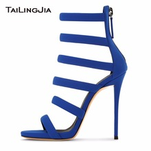 Spring Summer Woman Shoes Open Toe Blue Sexy Sandals Supper High Heel Stilettos Summer Boots Fashion Rome Sandals Free Shipping недорого