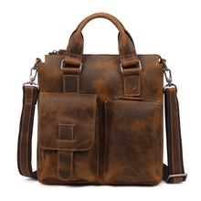 Fashion Mens Business Bag Genuine Leather Man Messenger Male Shoulder Crossbody Bags Brown Men Handbags High Quality