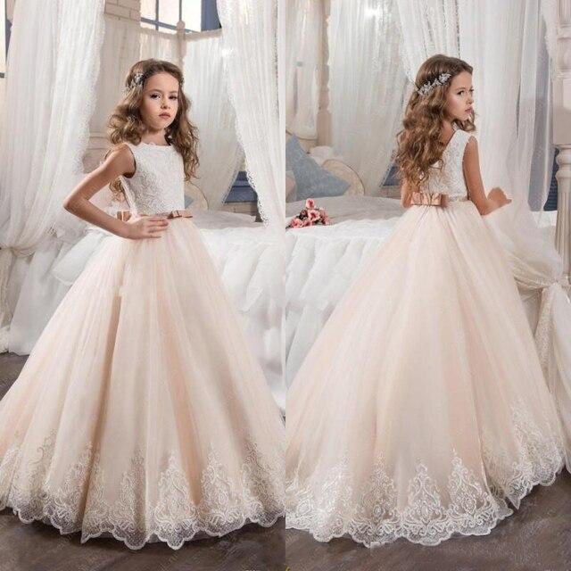 acheter champagne fleur fille robe 2017 robe de bal tulle perl enfant robe de. Black Bedroom Furniture Sets. Home Design Ideas