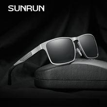 SUNRUN New Brand Squared Polarized Men Sunglasses Aluminium Magnesium Wrap Around Eyewear Fashion Designer Gafa Oculos 8636