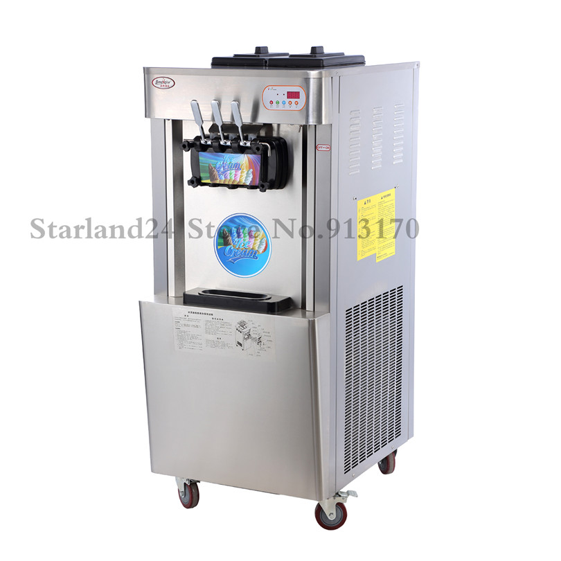 Commercial Sundae Soft Ice Cream Machine 3 Flavors CE Approval Ice Cream Maker High Output 42~45L/H For Restaurants Snack Street