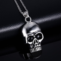 High-quality Titanium Steel Skull Head Pendant Necklace Skeleton Punk Rock Chain for Men Hip Hop Jewelry