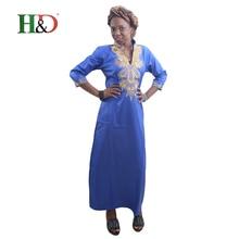 H & D Todo o vestido tradicional para as mulheres impressão robe bazin africano roupas de tecido rico afrikaanse jurken voor vrouwen traditionele