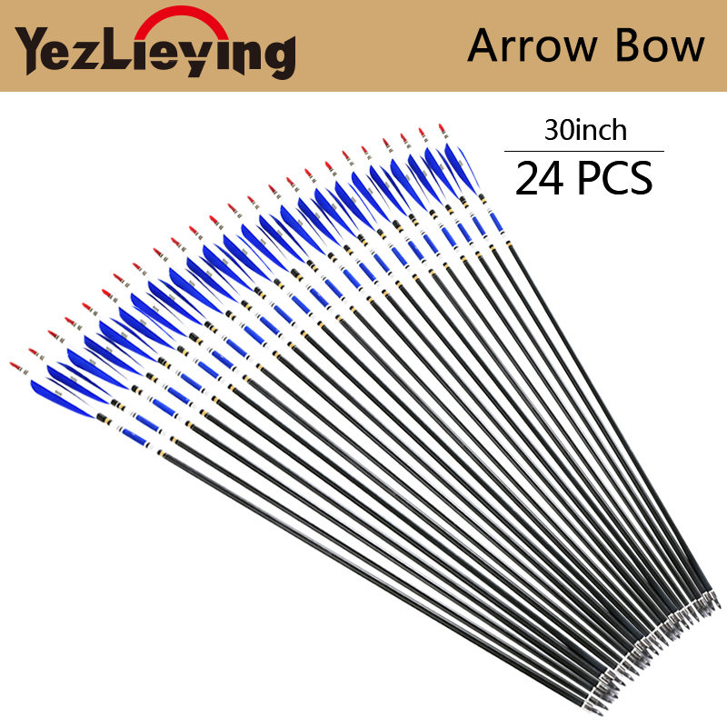 24PCS 30-Inch Pure Carbon Arrow Blue Turkey Feather With Replaceable Arrow Tip For Compound/Recurve Bow Archery Hunting hunting archery 12 24pc high quality 30 inch carbon arrow blue turkey feather 20 50 lb outdoor sports