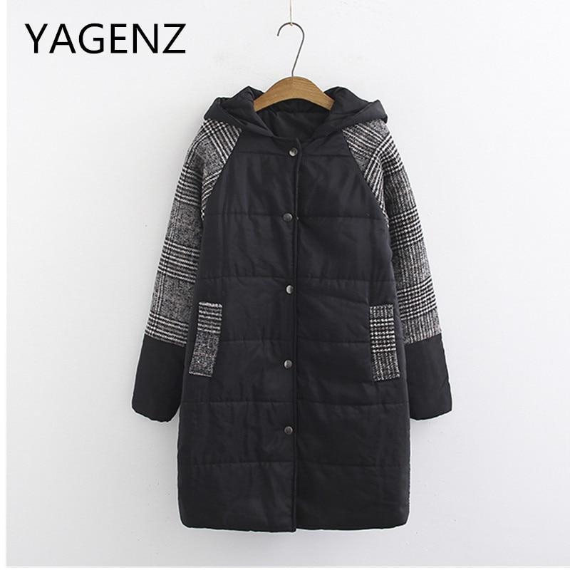 Large size Women Winter Cotton Hooded Jacket Coat Fashion Loose Warm Plaid Medium long Outerwear Casual Female Basic Jacket 4XL