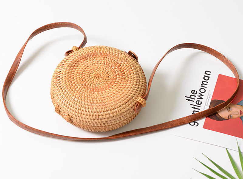 18 Round Straw Bags Women Summer Rattan Bag Handmade Woven Beach Cross Body Bag Circle Bohemia Handbag Bali 21