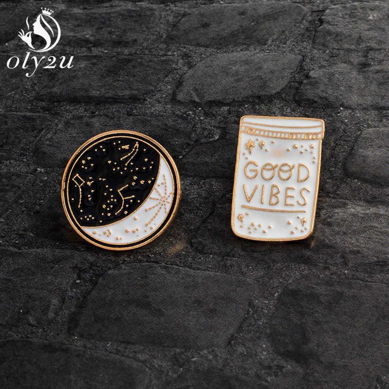 Oly2u Lucu Kpop Aksesoris Vintage Bros Pin Logam Hitam dan Putih Bros Kerah Pin dan Bros untuk Pakaian Pin lencana