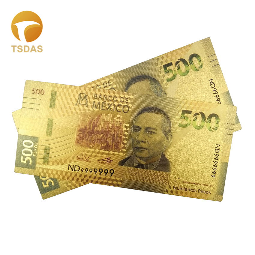 1pc Mexican Banknotes 24k Gold Plated 500 Pesos Home Decorative Souvenir Banknotes