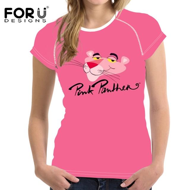 FORUDESIGNS Pink Cartoon T Shirt Summer Women T-shirt Funny Design Panther  Gifts Tshirt Brand Short Sleeve Top Tee Shirt Girls bf509fa78