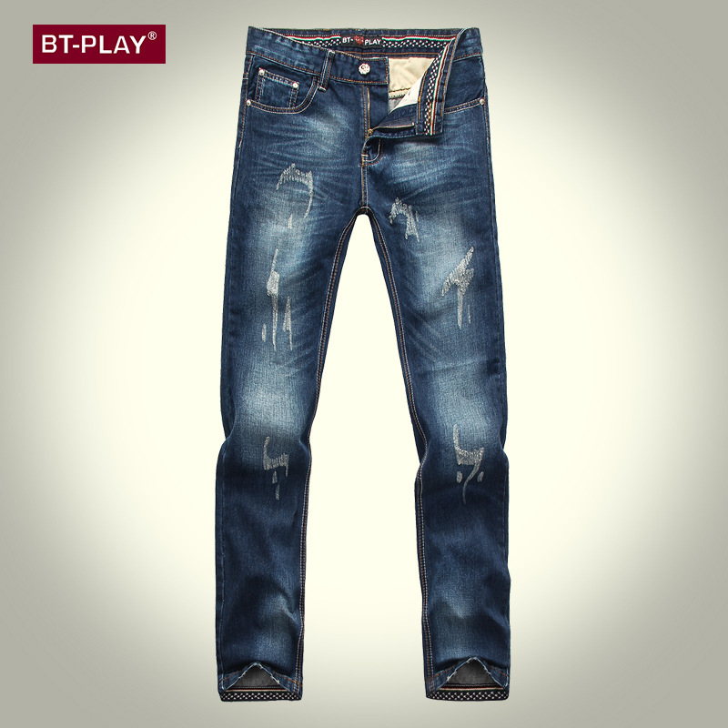 Aliexpress.com : Buy hole jeans ripped cuffed jeans mens straight ...