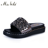 Ms Noki Bling Platform Women Shoes Comfortable Crystal Sandals Soft Shoes Women Summer Narrow Band Sandals