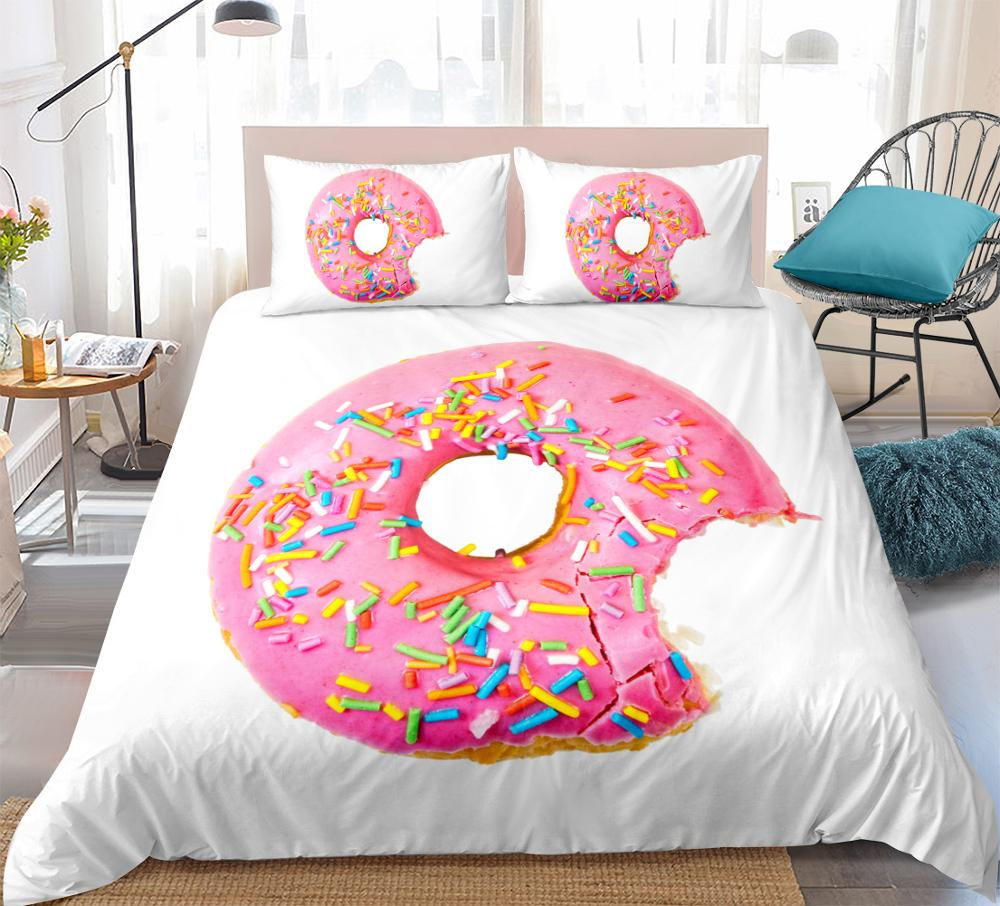 Donut Bedding Set Pink Girl Duvet Cover Set Dessert Bed Line Queen Pastry Quilt Cover King Cake Bed Set Twin Home Textiles