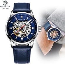 Luxe Top Brand Steel Skeleton Fashion Mechanische Horloges Heren Lederen Band Lichtgevende mannen Automatische Horloges relogio masculino