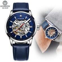 Montres de luxe mécanique bracelet en cuir pour hommes, squelette en acier, marque supérieure, à la mode, lumineuse et automatique