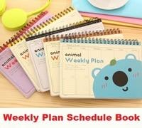 1pcs Lot Sweet Cartoon Animal Series Kraft Paper Weekly Plan Schedule Notebook Lovely Plan Book Diary