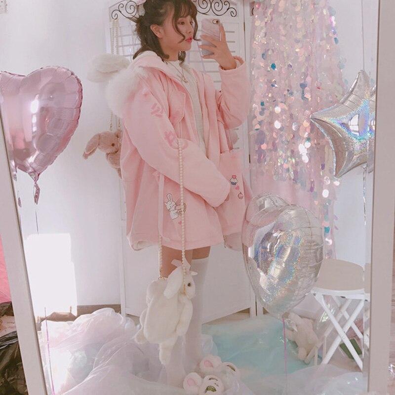 Новинка зимы 2018, женские милые Куртки Harajuku с рисунком розового кролика, милые куртки на молнии с капюшоном для девочек, розовое пальто