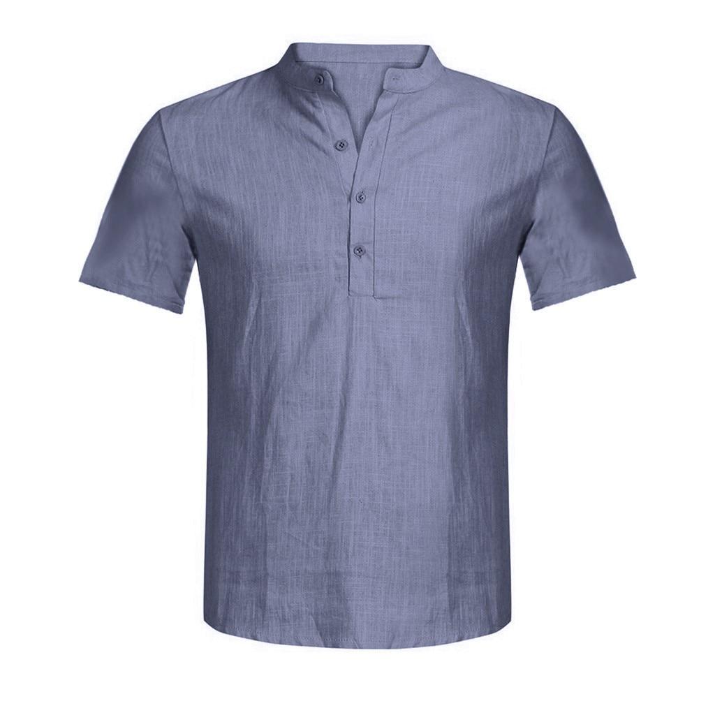 Men's Casual Blouse Cotton Linen shirt Loose Tops Short Sleeve Tee Shirt S-2XL Spring Autumn Summer Casual Handsome Men Shirt 6