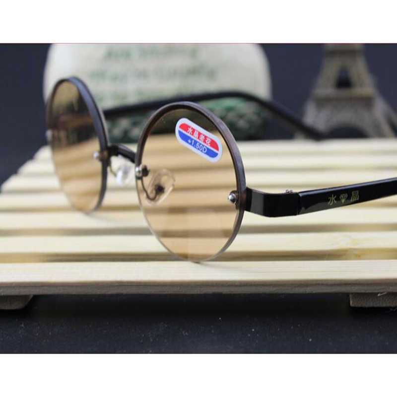 Crystal Glasses Retro Round Metal Frame Reading Glasses Brown lenses Glasses magnifier Optical Glass for Men and Women Oculos A1
