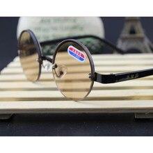 Gafas de cristal con montura redonda de Metal para hombre y mujer, lentes de lectura, lentes marrones, lupa de vidrio óptico, A1