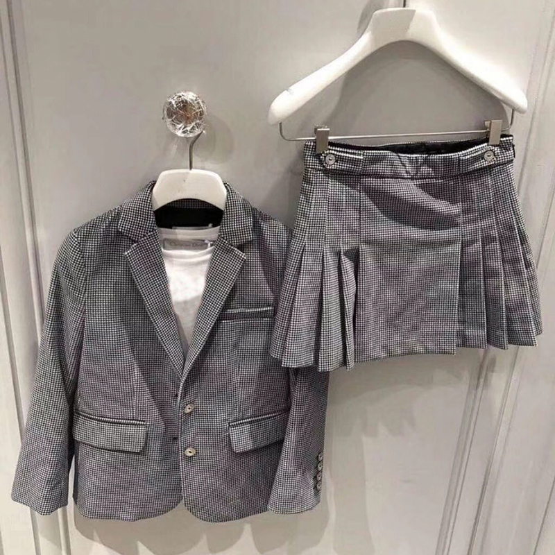 girls clothes set Jacket Coat + skirt 2 Piece Sets for children striped suit Clothing in end of September uneven hem striped midi skirt