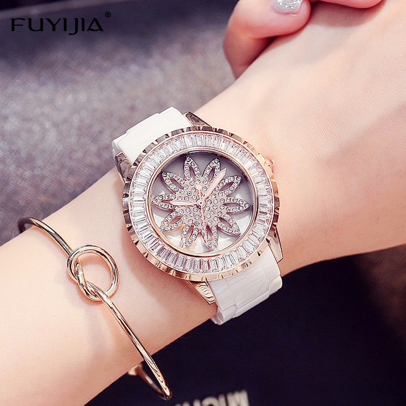 New FUYIJIA fashion Lady watches ladies quartz watch white ceramic bracelet watch women rose gold diamond dress watch waterproof weiqin new 100% ceramic watches women clock dress wristwatch lady quartz watch waterproof diamond gold watches luxury brand