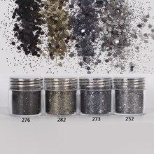 Paznokci 1 słoik/pudełko 10ml 3D paznokci 4 Mix czarne przydymione Mix brokat do paznokci cekinami pyłkiem Manicure Nail Art pył dekoracji 4 18