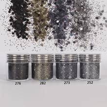Prego 1 frasco/caixa 10ml 3d prego 4 mistura fumaça preto mix prego glitter em pó lantejoulas pó manicure arte do prego poeira decoração 4 18