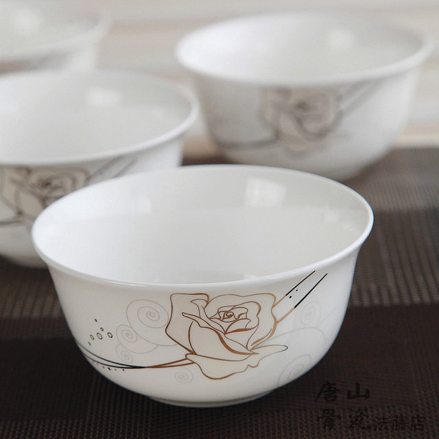 4.5 inch gold striped rose painting white bone china japanese style soup rice bowls & 4.5 inch gold striped rose painting white bone china japanese ...