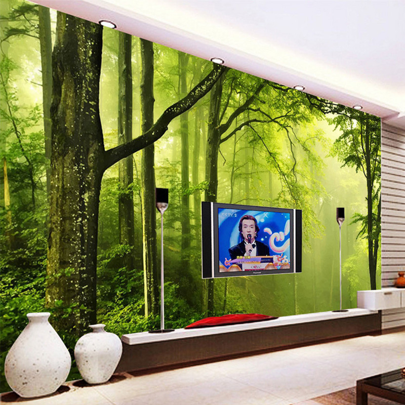 Custom Any Size 3D Wall Murals Wallpaper Green Forest Tree 3D Photo Wallpaper Living Room Sofa TV Backdrop Mural Papel De Parede custom any size mural wallpaper 3d stereoscopic universe star living room tv bar ktv backdrop bedroom 3d photo wallpaper roll